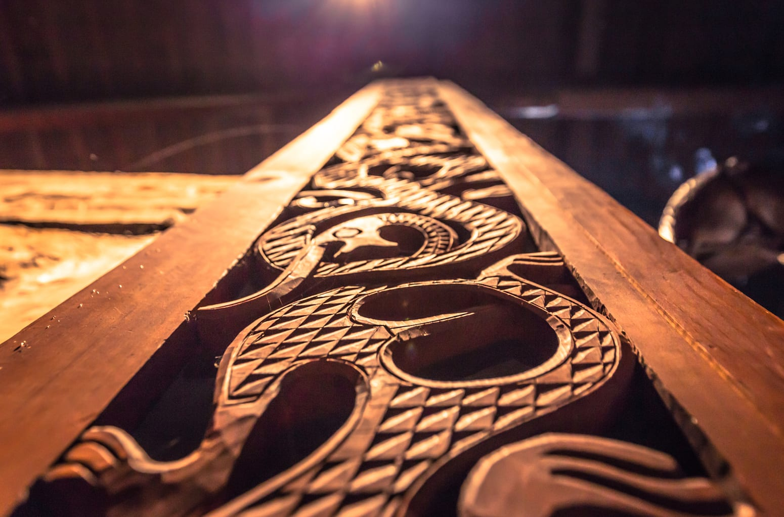 Detail of a Viking decoration Inside the Longhouse in the Lofotr Viking Museum in the town of Borg in the Lofoten Islands, Norway