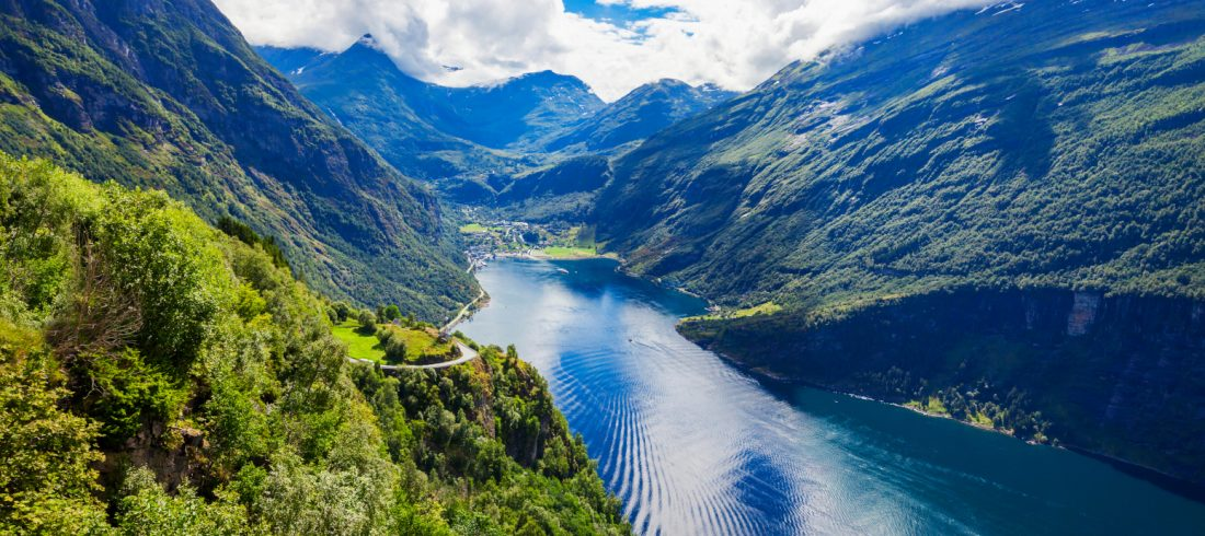 A view over Geiranger and Geirangerfjord in Norway.