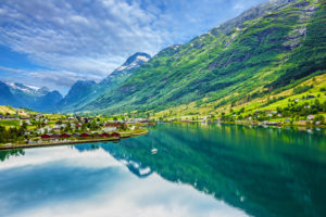The village of Olden on the Nordfjord in Norway.