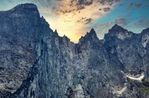 A view of Europe's tallest vertical rock face, Trollveggen (Troll Wall).