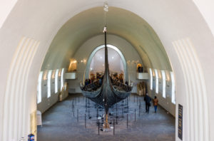 A view of a viking ship in the Viking Museum in Oslo