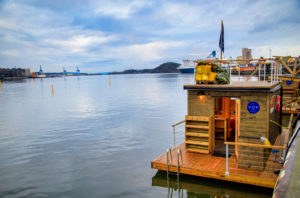 Floating sauna in the fjord in Oslo, Norway