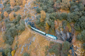 A view of the Flåm train to Myrdal in the fall, Norway